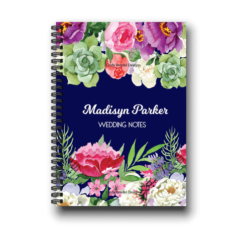 Navy Floral Wedding Notebook