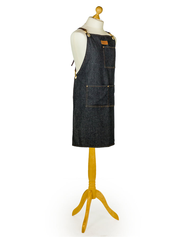 "Artisan Denim ""Slave to the Stove"" Apron with Leather Straps"