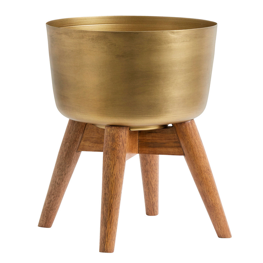 Medium Brass Planter With Mango Wood Stand