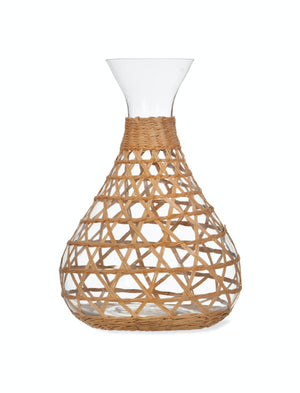 Glass Carafe with Rattan Sleeve