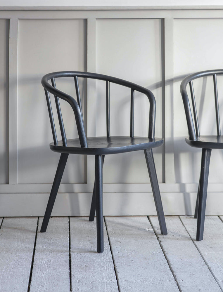 Pair of Ash Carver Chairs in Carbon