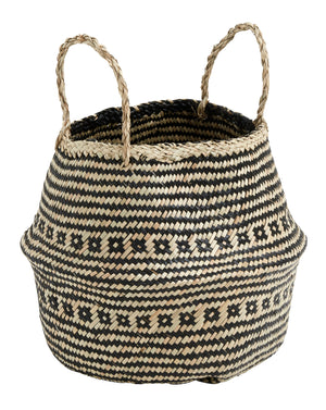Small Seagrass Belly Basket - Black and Natural