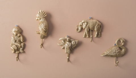 Gold Animal Wall Hooks