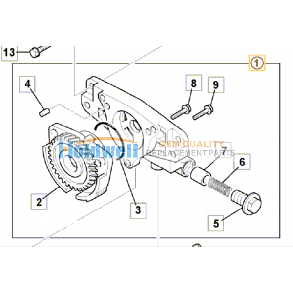 Oil Pump Assy for ISUZU engine 4LE1 & 4LE2 in JCB model 02/802884