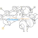 Manifold Exhaust for ISUZU engine 4LE1 & 4LE2 in JCB model 02/803021