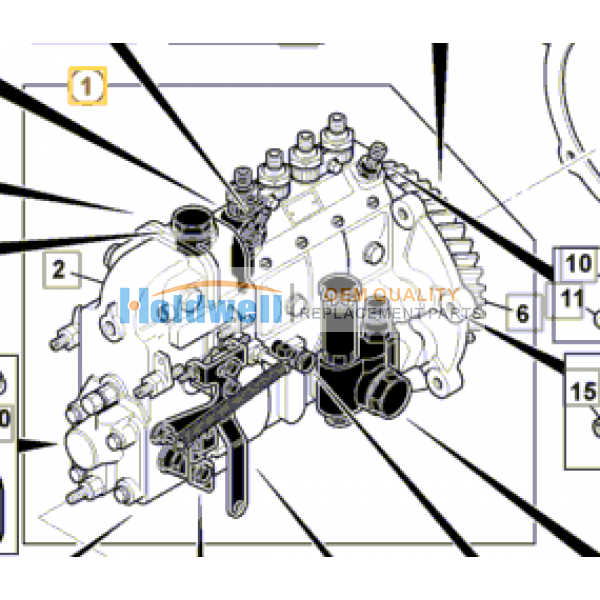 Pump fuel injection assembly for ISUZU engine 4BG1 in JCB model 17/305200  17/308200