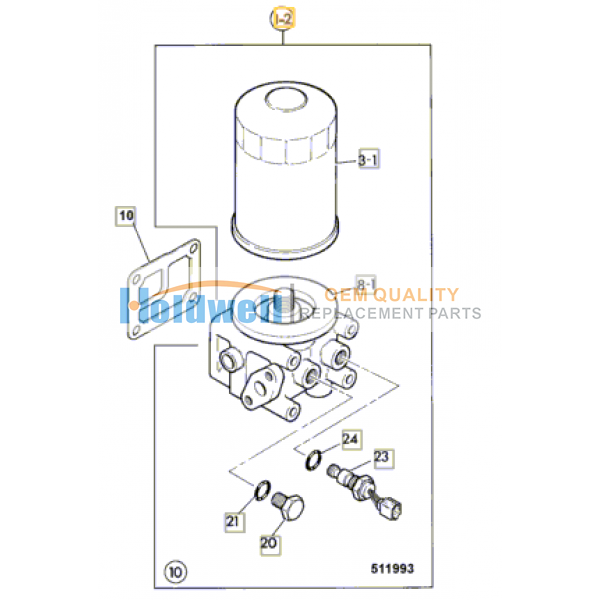 Oil filter saay 8943224880 for ISUZU engine 4BD1 in JCB model