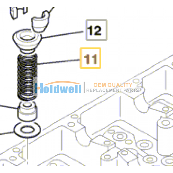 Spring valve for ISUZU engine 4JJ1 in JCB model 02/802429