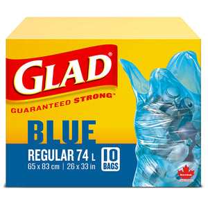 Glad Blue Regular 74L Garbage Bags 10's 26x33in