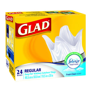 Glad Easy-Tie Kitchen Catchers Bags 24's Fresh Clean Scent