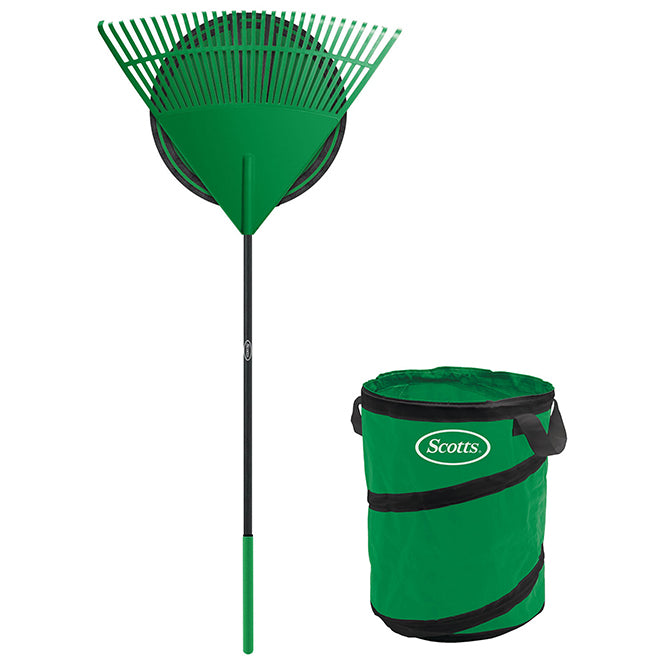 "Scotts Rake and Bag Set*30"" Green/Black"