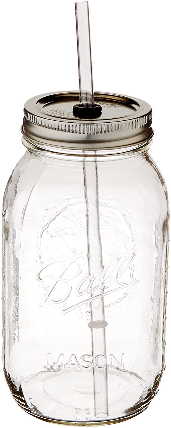 The Original Red Nek Guzzler Mason Jar with Straw 32oz
