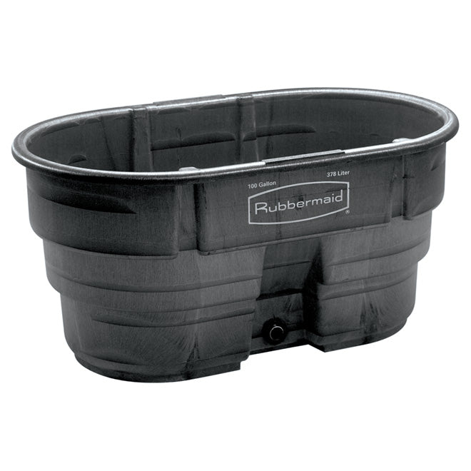 "Rubbermaid Stock Tank 100 Gallons 378.5L ""25""x31""x52"" Black"