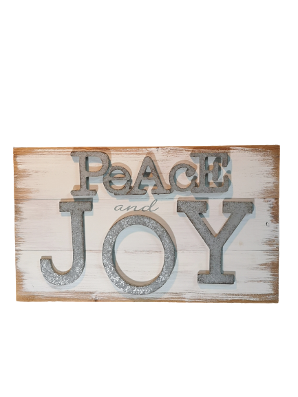 Rustic Wooden Peace and Joy Sign