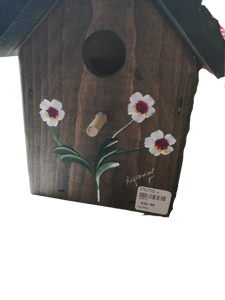 Wooden Bird House Hand Painted Brown