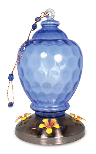 Art Glass Hummingbird feeder Blue Dimple Design