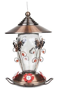 Butterfly Design Hummingbird Feeder- Copper Plated