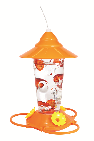 GLASS ORIOLE FEEDER WITH HAND-PAINTED DOTS