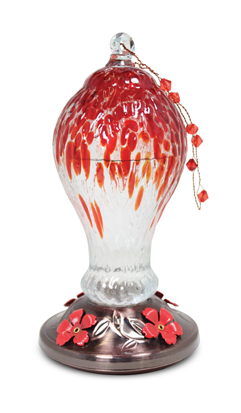 Art Glass Hummingbird feeder Red Drip Design
