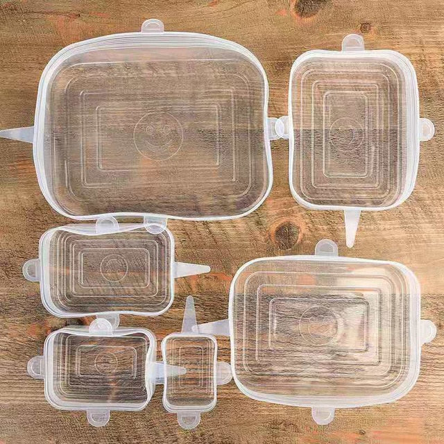 6 Square Silicone Stretch Lids