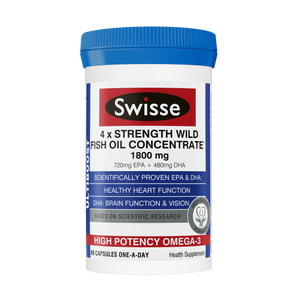 Swisse Ultiboost 4X Strength Wild Fish Oil Concentrate Supplement 60 Capsules