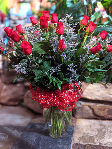 Contemporary Red Roses - Two Dozen