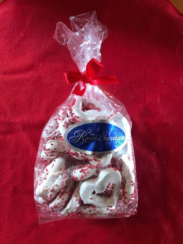 The Royal Chocolate White Chocolate Covered Heart Shaped Pretzels