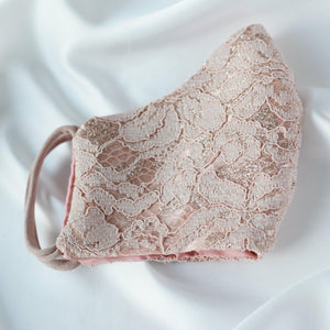 Nude Lace & Rose Gold Glitter 100% Silk Lined Face Mask