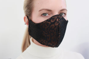Metallic Leopard Print Face Mask Lined in Black 100%  Silk