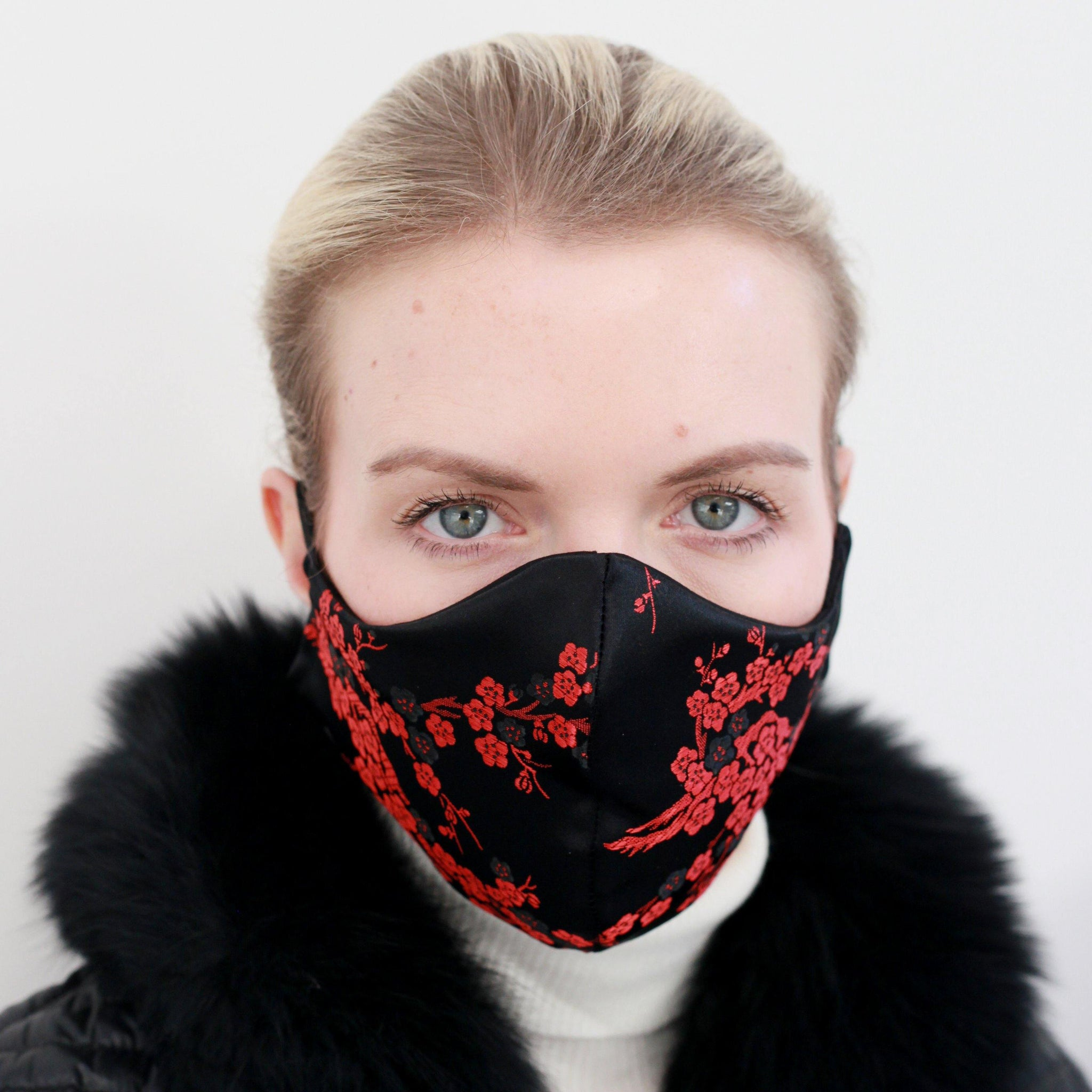 Oriental Red Blossom, Satin Face Mask Lined In Black 100% Silk