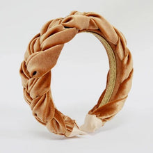 Load image into Gallery viewer, Velvet Gold Braided Headband