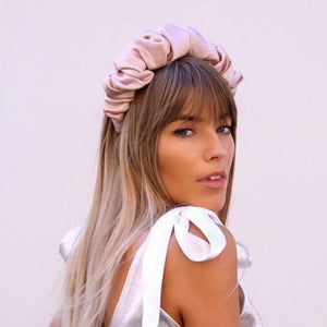 Nude Pink Scrunchie Satin headband