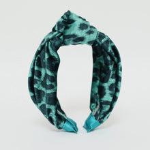 Load image into Gallery viewer, Turquoise Leopard Print Velvet Knot Headband