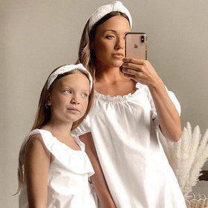 Mother & Daughter Matching White Headbands