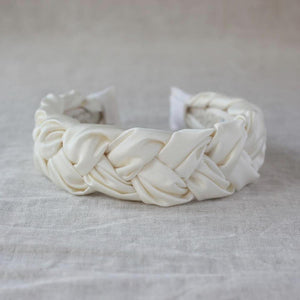 Bridal Ivory Satin Braided Headband