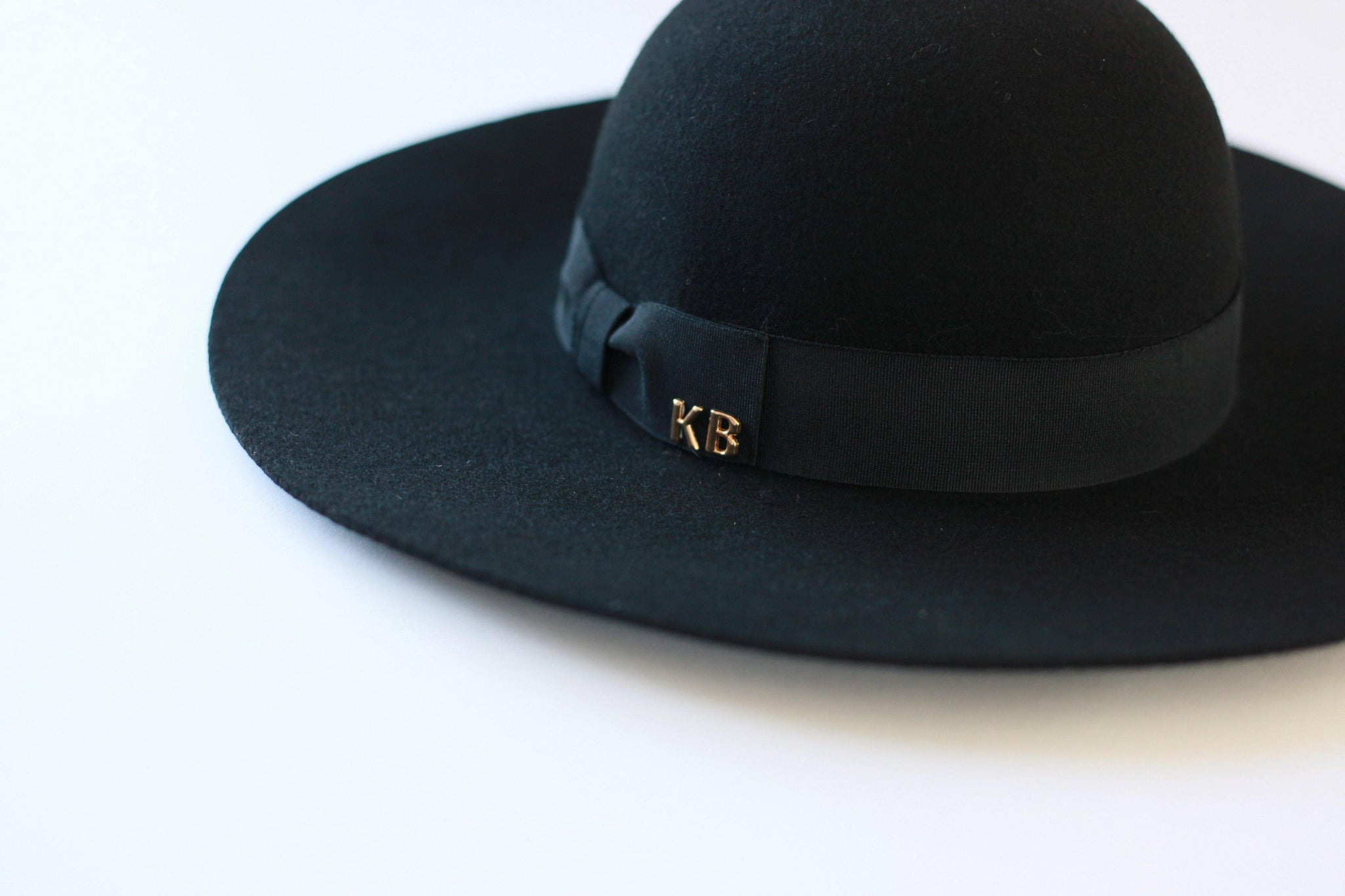 Ladies Black 100% Wool Personalised Wide Brim Hat