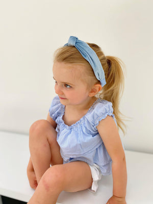 Mother & Daughter Matching Velvet Powder Blue Top Knot Headbands