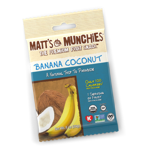 Matts Munchies Premium Fruit Snack - Banana Coconut   CASE Of 12  ~NEW FLAVOR~