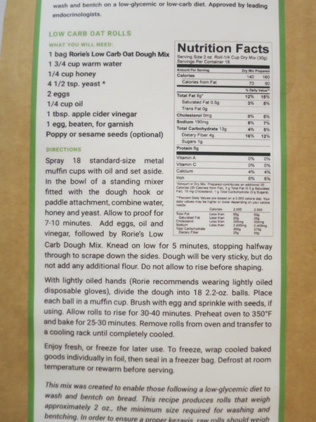 "Rorie Gluten Free ""Low Carb"" Oat Dough Mix **NEW**"