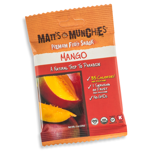 Matts Munchies Premium Fruit Snack - Mango ~ CASE Of 12~