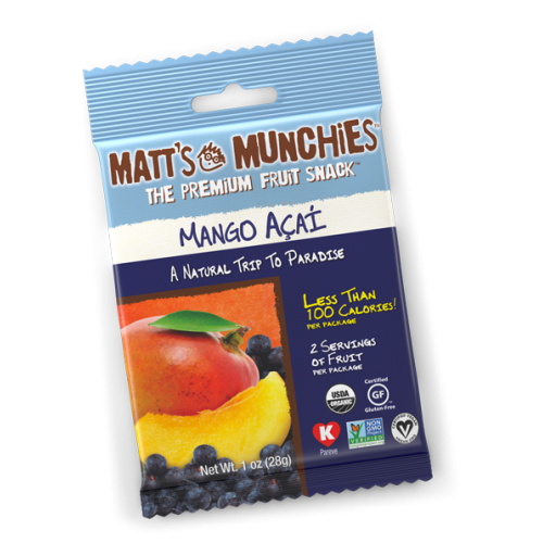 Matts Munchies Premium Fruit Snack - Mango Acai  CASE Of 12