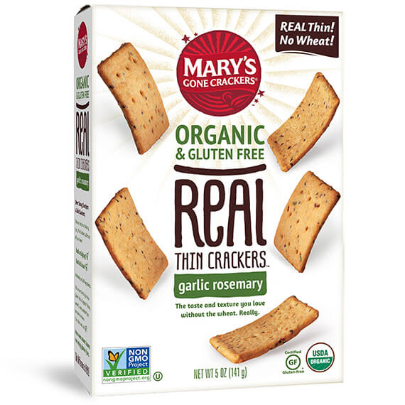 Marys Gone Crackers Organic Garlic Rosemary Thins
