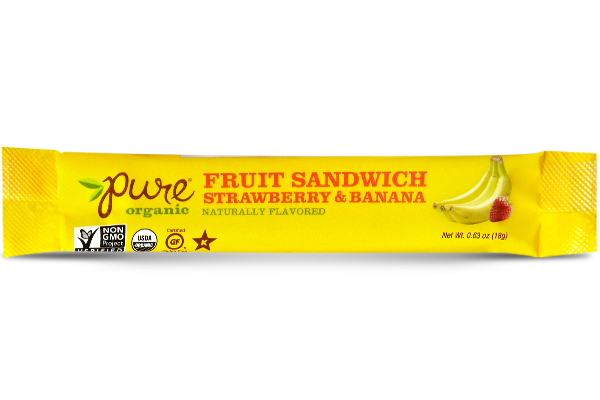 Pure Organic Fruit Sandwich - Strawberry & Banana  - 3 Pack