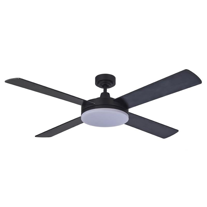 "Razor 52"" AC Ceiling Fan w 28w LED Light in Black (3000k/5000k) Martec Lighting - MRF1343, MRF1345"