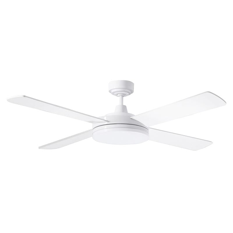"Razor 52"" AC Ceiling Fan w 28w LED Light in White (3000k/5000k) Martec Lighting - MRF1343, MRF1345"