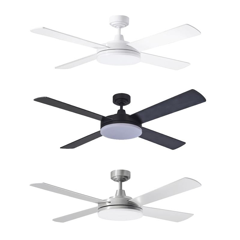 "Razor 52"" AC Ceiling Fan w 28w LED Light in ALU/BLK/WHT (3000k/5000k) Martec Lighting - MRF1343, MRF1345"