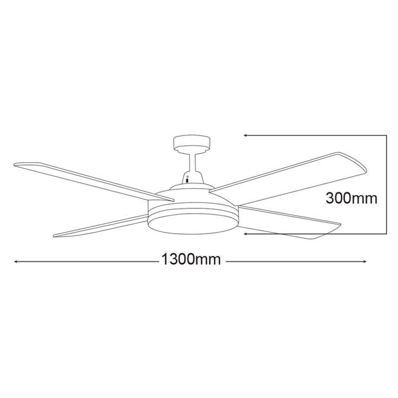 "Razor 52"" AC Ceiling Fan w 28w LED Light in ALU/BLK/WHT (3000k/5000k) Martec Lighting - MRF1343, MRF1345 Dimension"
