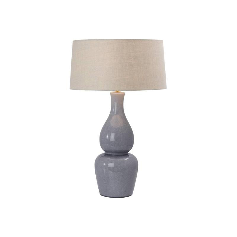 Genie Table Lamp in Light Blue Crackle Porcelain with Empire Shade Bloomingdales - P730L