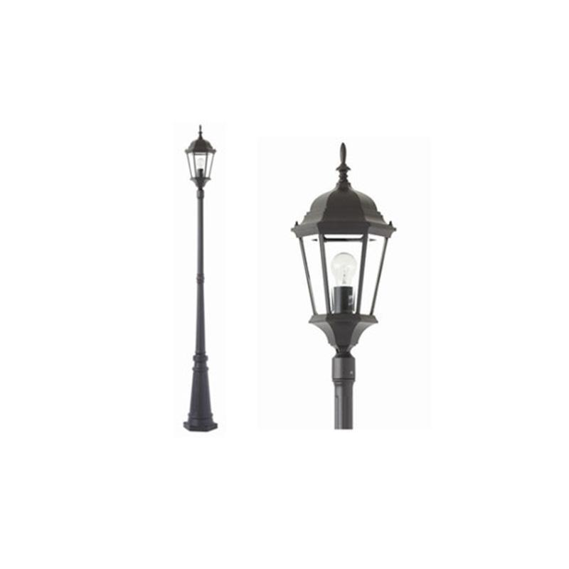 Yarra E27 Exterior Post + Post Top Mercator Lighting - MX7391P/BLK