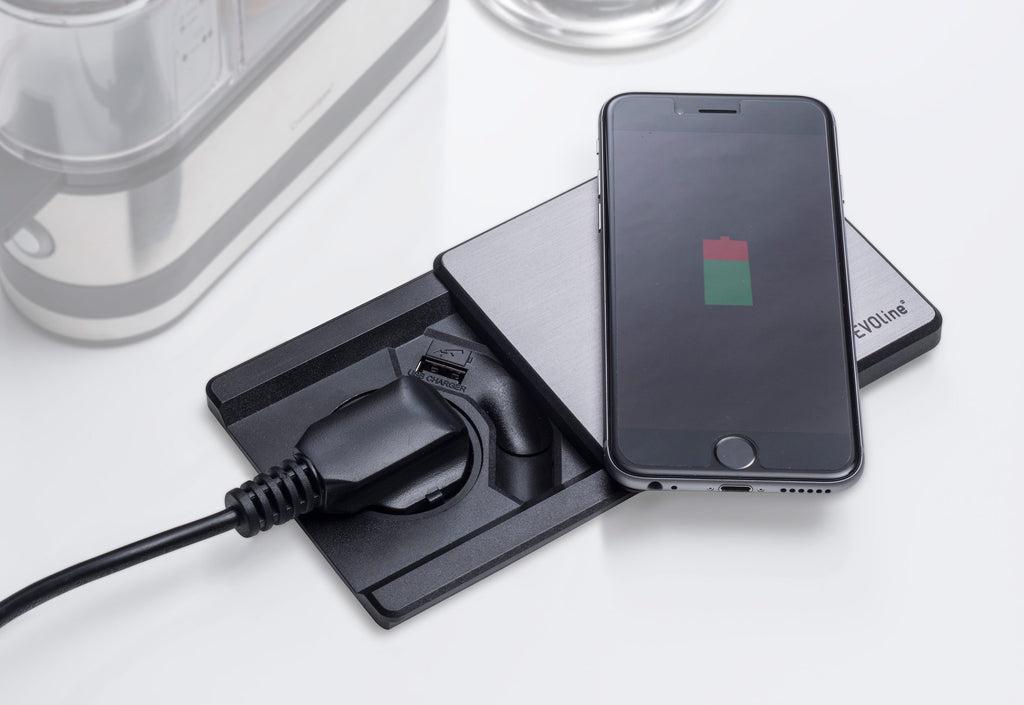 Conceal Socket with Qi & USB Charging | Evoline Square 80
